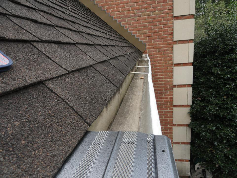 Gutter guard partially installed